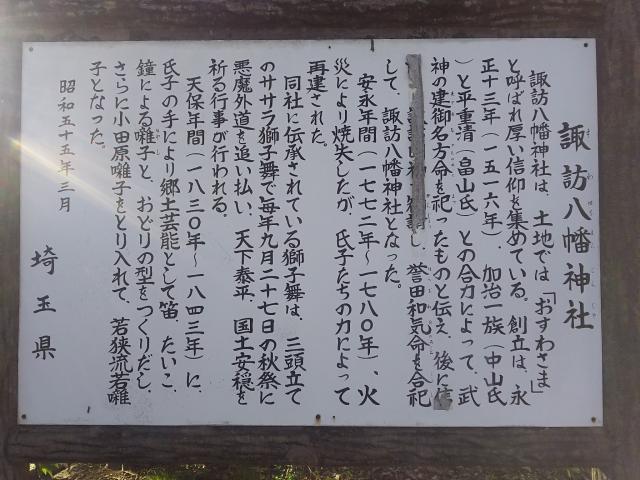 諏訪八幡神社(埼玉県飯能駅) - 歴史の写真